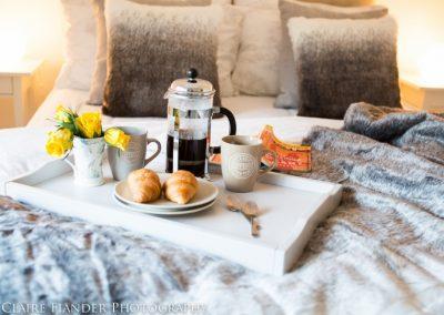 Romantic weekend lazy breakfast in bed
